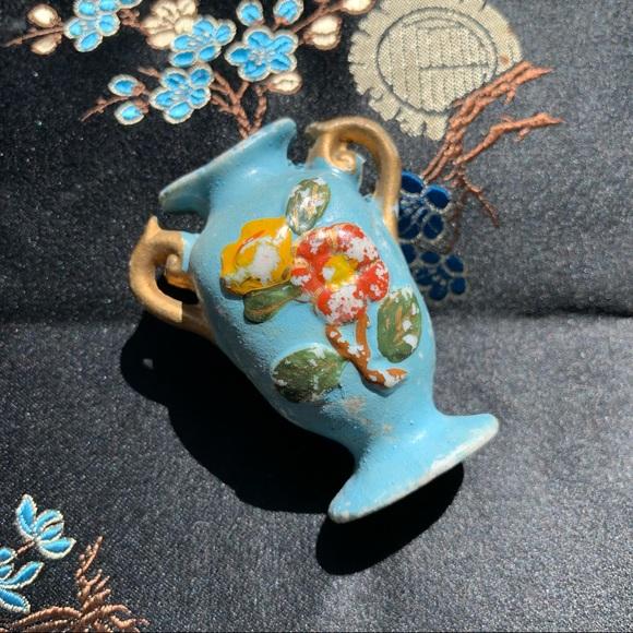 Vintage Hand Painted Floral Mini Ceramic Vase